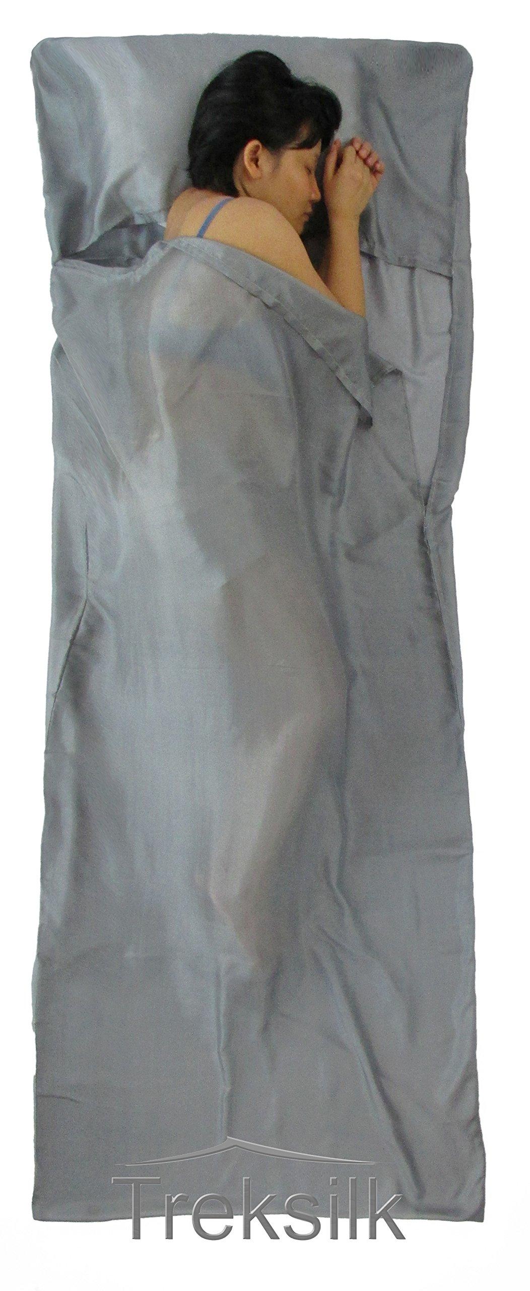 Treksilk: 240 cm! 100% Mulberry Silk Single Sleeping Bag Liner Travel Sheet Sack (Gray) by Treksilk