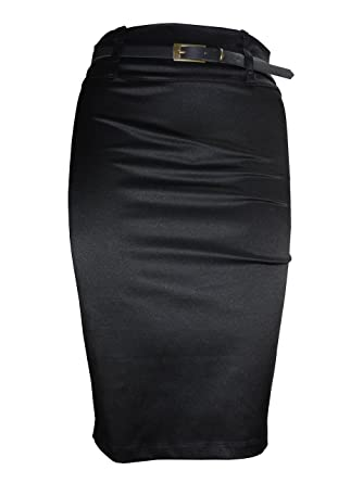 554c4d401 women Plain black satin stretch midi pencil skirt size 8 12 14 16 18 (8