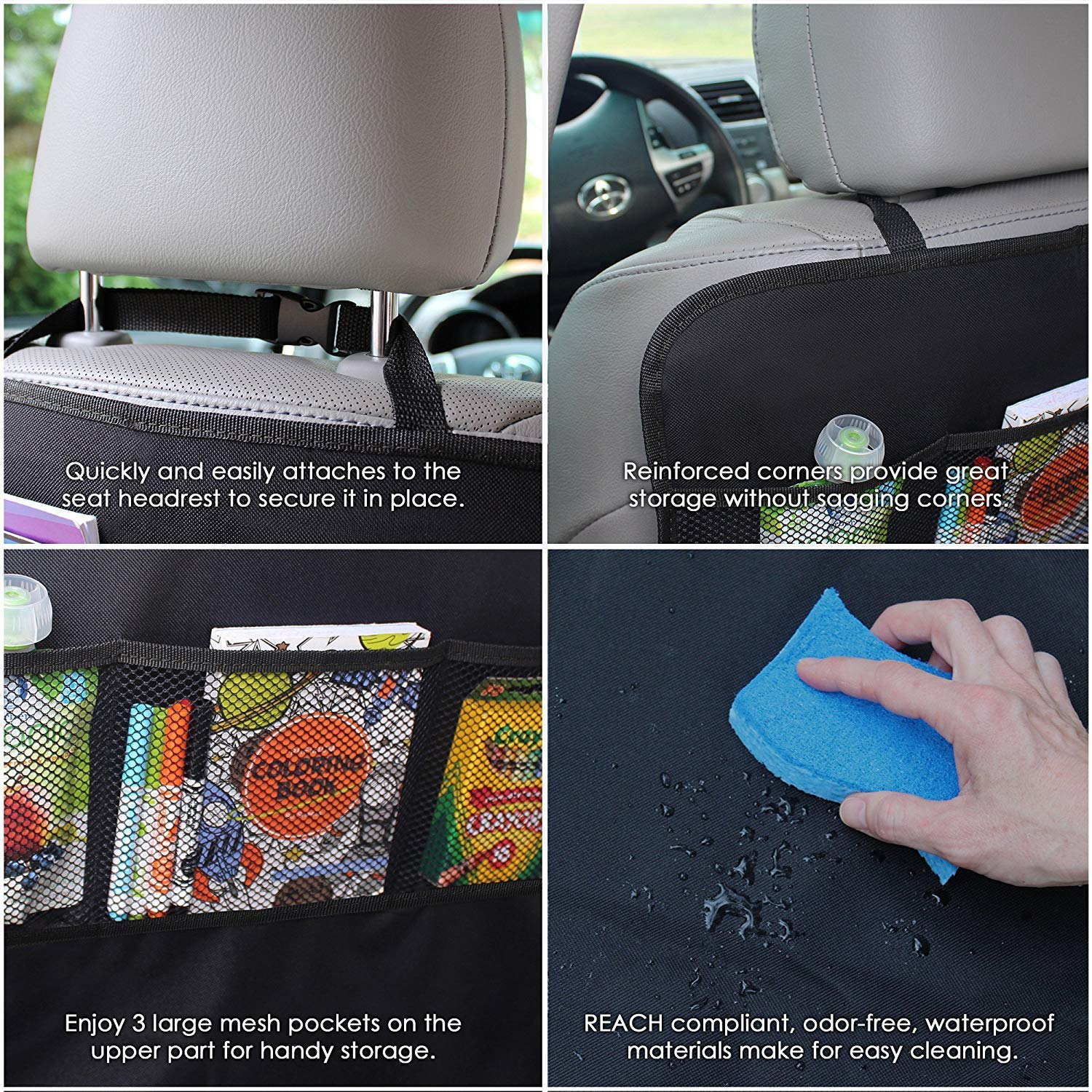 XBRN 2 Pack Kick Mat Car Seat Protector and Back Seat Storage Organizer Child Kick Guard Protects Automotive Leather Fabric from Dirt