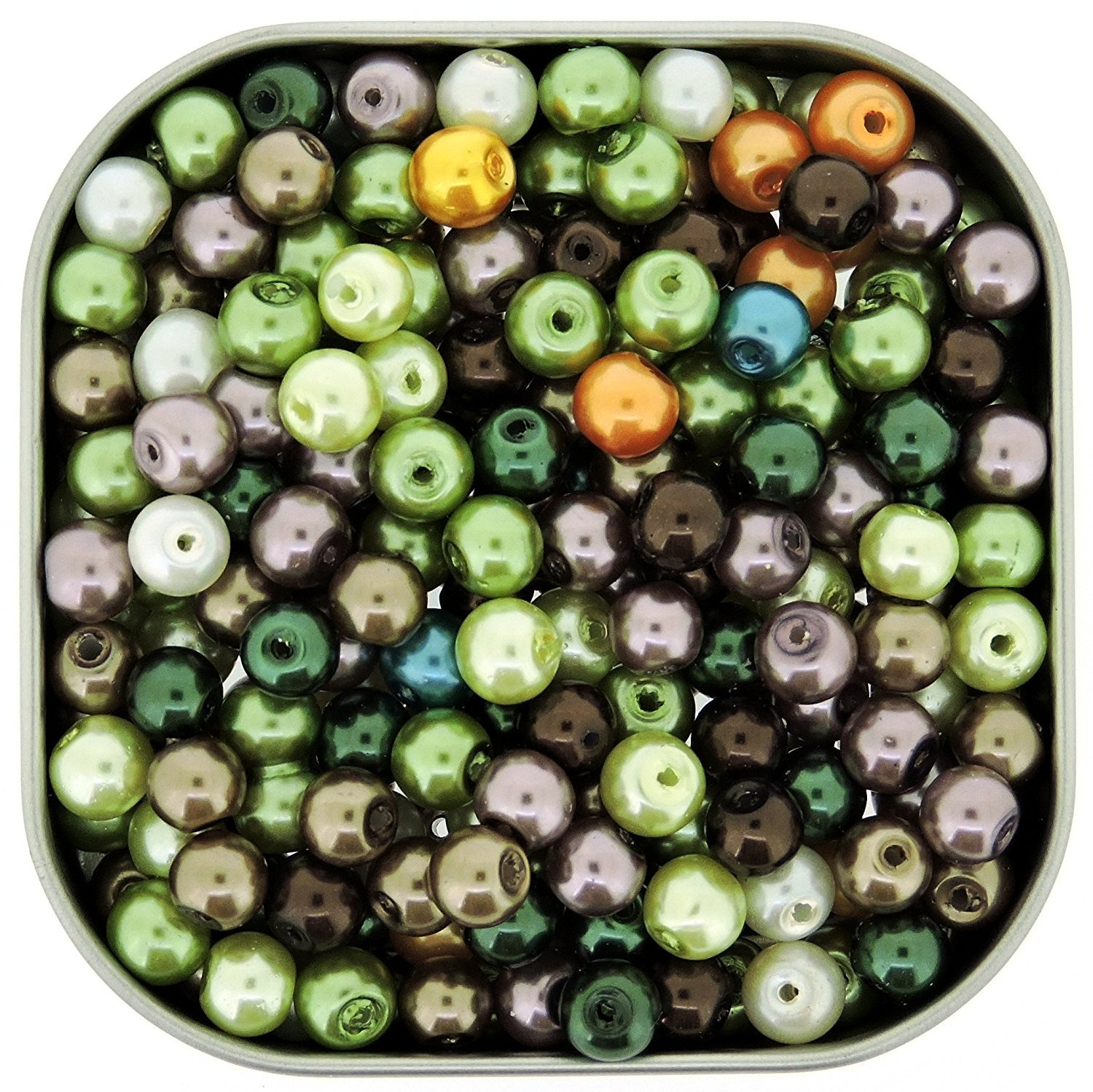 150 Mixed Colour Round and Oval Glass Pearl Beads for Jewellery Making 6 /& 8 mm