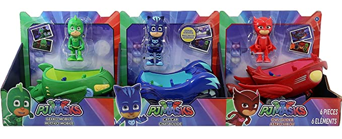 PJ Máscaras 3 mobile Vehicles Bundle Cat Car, Owl Glider and Gekko - mobile by PJ Máscaras: Amazon.es: Juguetes y juegos