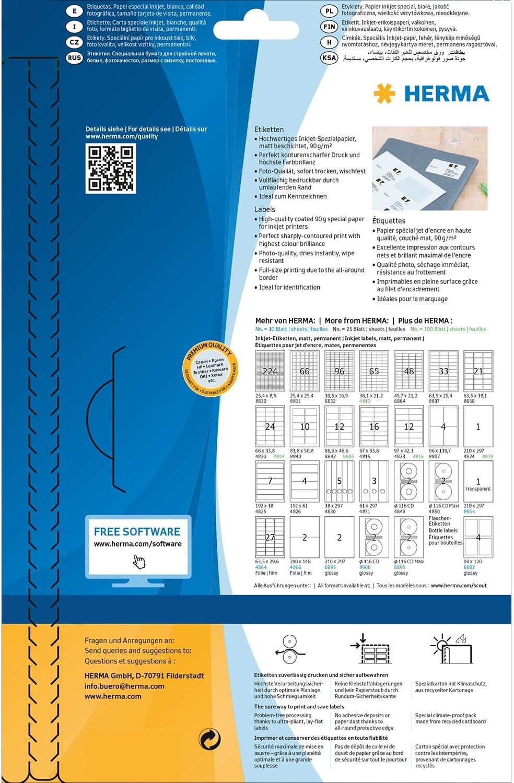 88,9 x 46,6 mm 12 Etichette per Foglio HERMA Etichette per Indirizzi Bianco Etichette Adesive A4 per Stampante