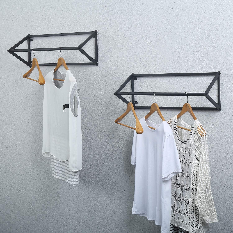 MBQQ Industrial Clothing Rack Wall Mounted,Garment Rack Display Rack Cloths Rack,Metal Clothes Racks for Hanging Clothes,Laundry Room Decor Rod,Black(2pcs)