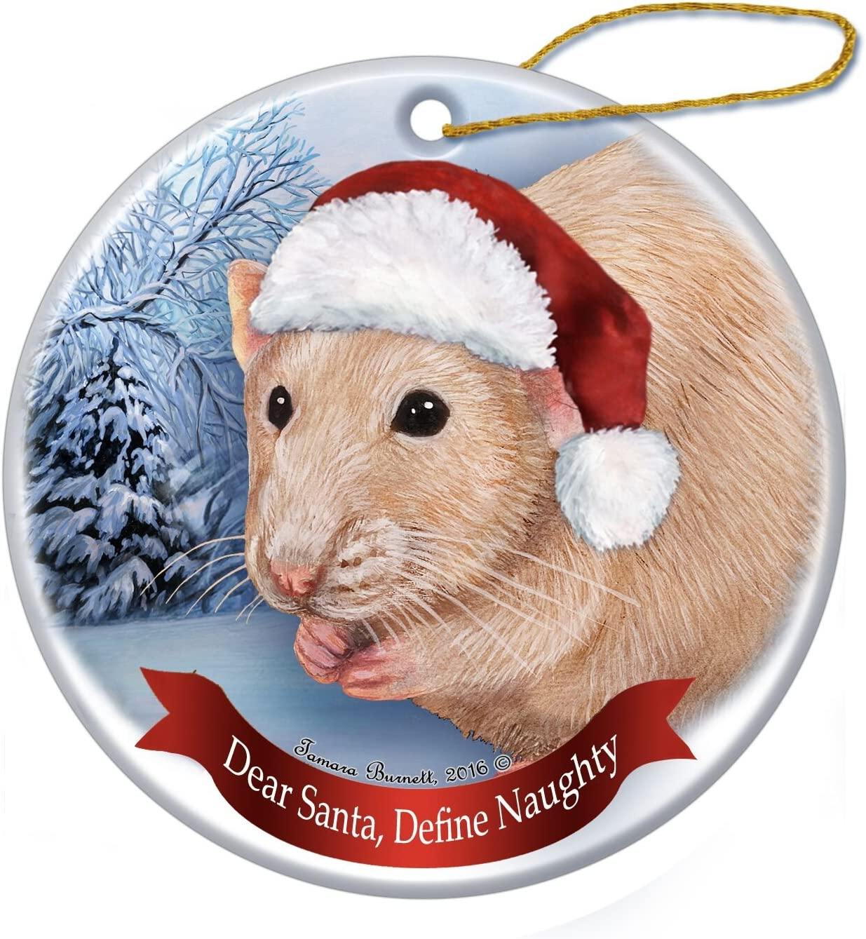 Holiday Pet Gifts Brown Hooded Rat Santa Hat Porcelain Christmas Tree Ornament