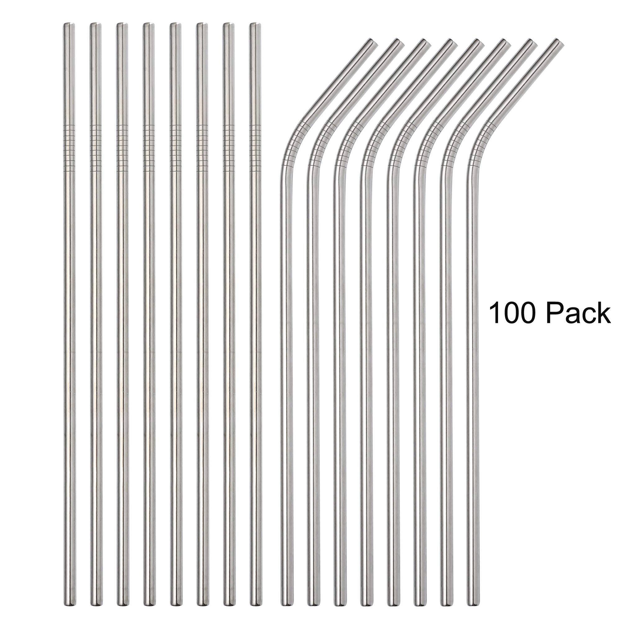 Brightbuy Stainless Steel Straws Set of 100 Piece, 8.5'' 10.5''Metal Drinking Straws for 20oz Tumblers Yeti 6mm Diameter (50 Straight + 50 Bent) (100pc 215mm) by Brightbuy