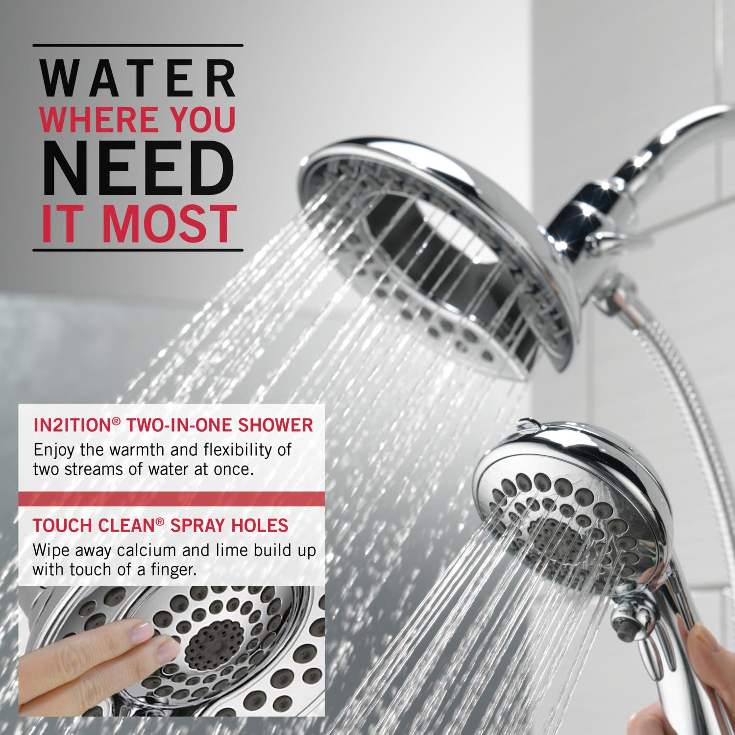 Delta 58569-SS-PK 5-Spray Touch Clean In2ition 2-in-1 Hand Held Shower Head with Hose, Stainless by DELTA FAUCET (Image #3)