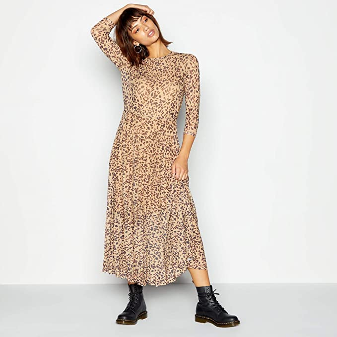 good texture excellent quality sleek Red Herring Womens Brown Leopard Print Mesh Midi Dress 20: Red ...