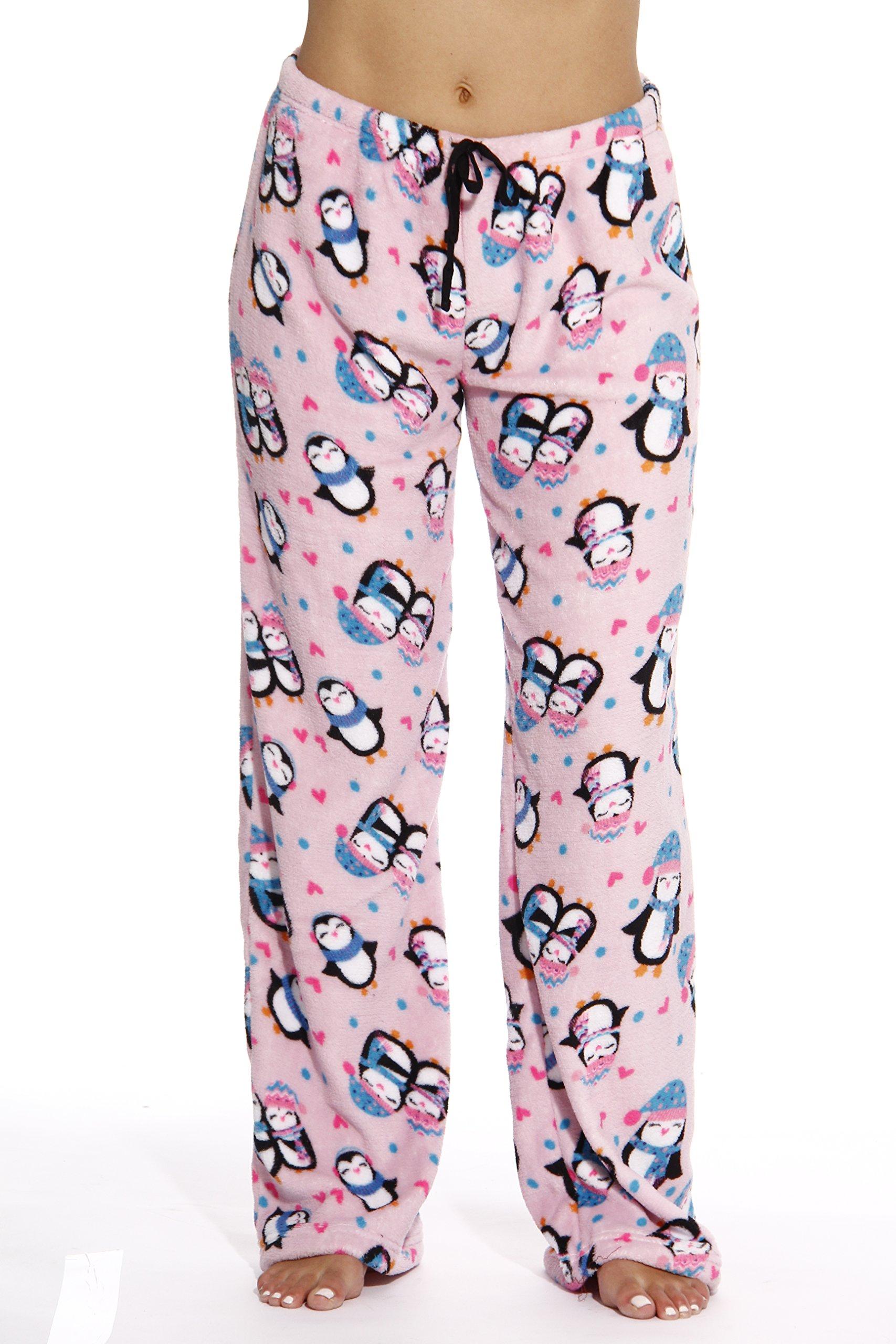 6339-10126-L Just Love Women's Plush Pajama Pants - Petite to Plus Size Pajamas,Pink - Penguin Love,Large