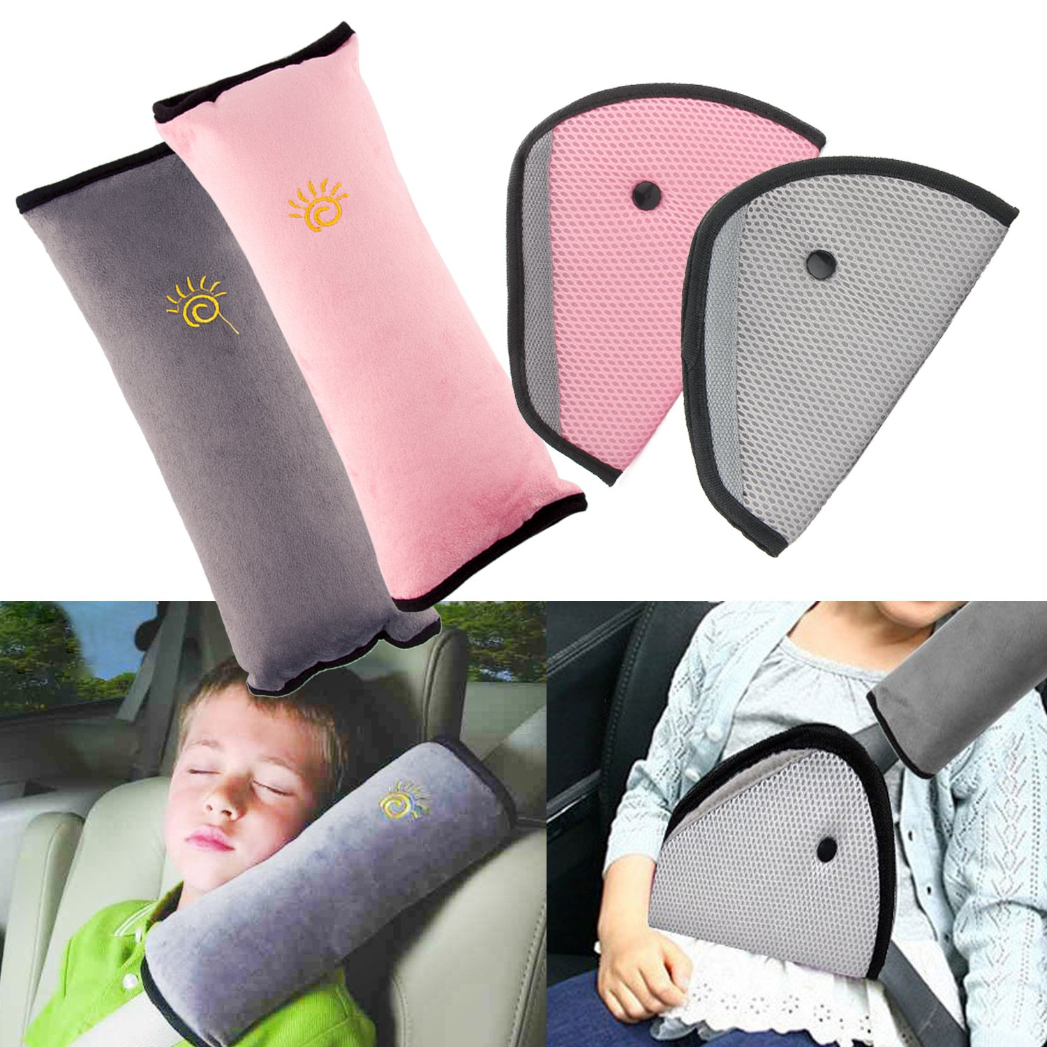 R ? HORSE 4Pack Seatbelt Pillow Car Seat Belt Covers for Kids, Adjust Vehicle Shoulder Pads Safety Belt Protector Cushion Plush Soft Auto Seat Belt Strap Cover Headrest Neck Support for Children Baby by R ? HORSE