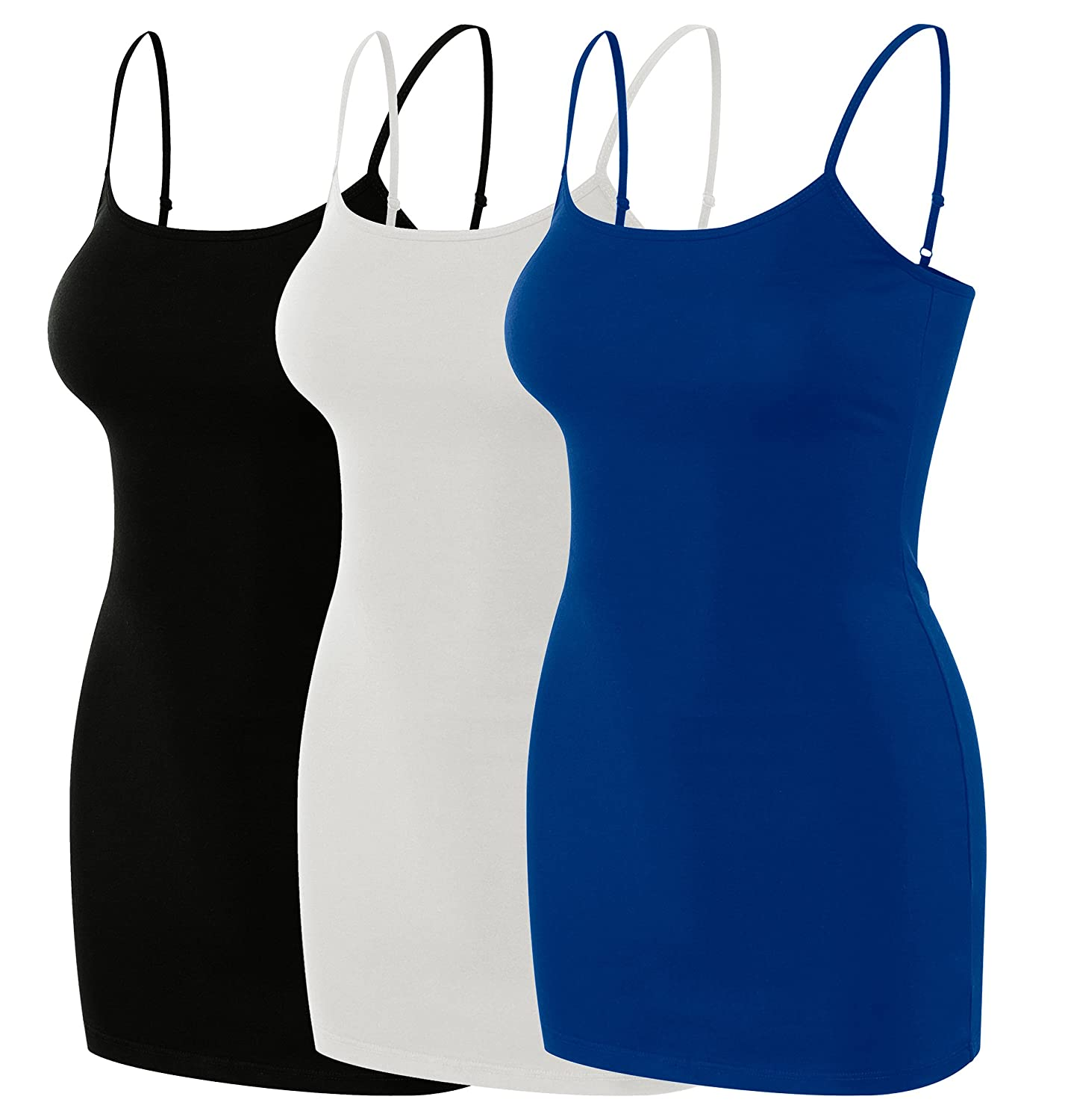 a9292a34309583 95% cotton 5% spandex / imported / machine wash/ soft modal blend stretchy  camis. Women\'s Basic cotton Solid Long Length Adjustable Spaghetti Strap  Tank ...