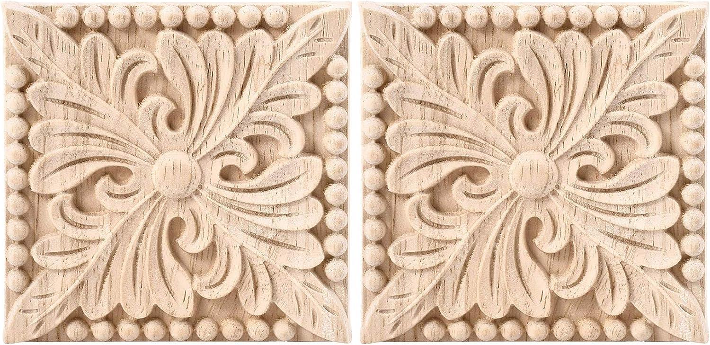 Wood Carved Flower Decal Applique Frame Furniture Door Wall Decor 20x12cm
