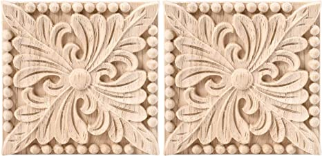 European Style Onlay Carved Decal Door Floral Wood Cabinet Applique Decoration