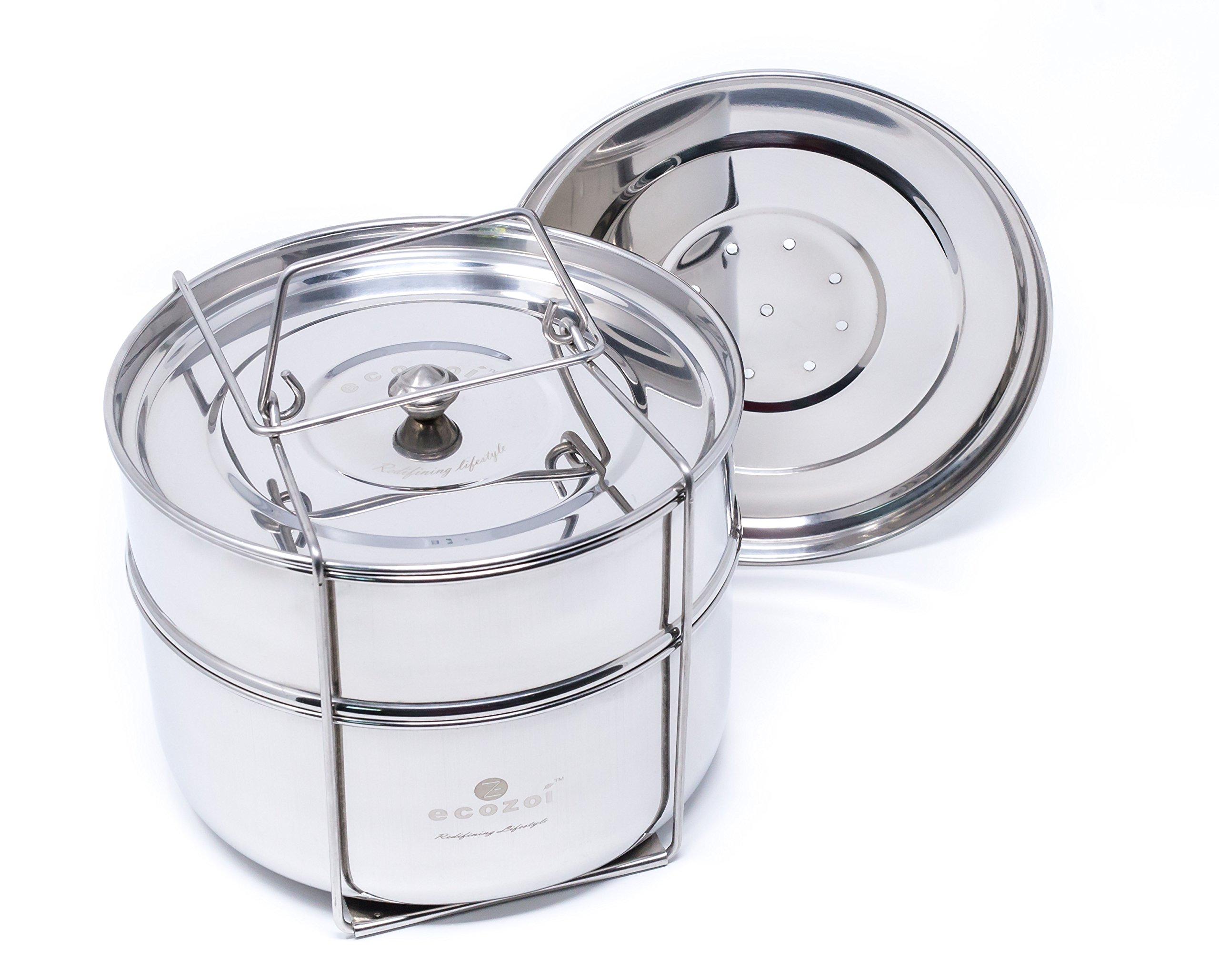 ecozoi Premium Extra DEEP Stackable Steamer Insert Pans Pot in Pot for Instant Pot 6, 8 Quart Instant Pot Accessories - 2 Tier | Interchangeable Lids | Redesigned for Enhanced Rust Proof Performance by ecozoi