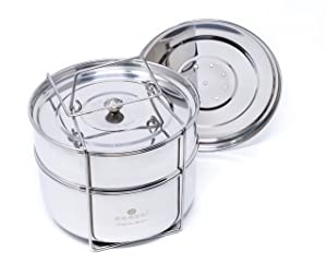 ecozoi Premium Extra DEEP Stackable Steamer Insert Pans Pot in Pot for Instant Pot 6, 8 Quart Instant Pot Accessories - 2 Tier | Interchangeable Lids | Redesigned for Enhanced Rust Proof Performance