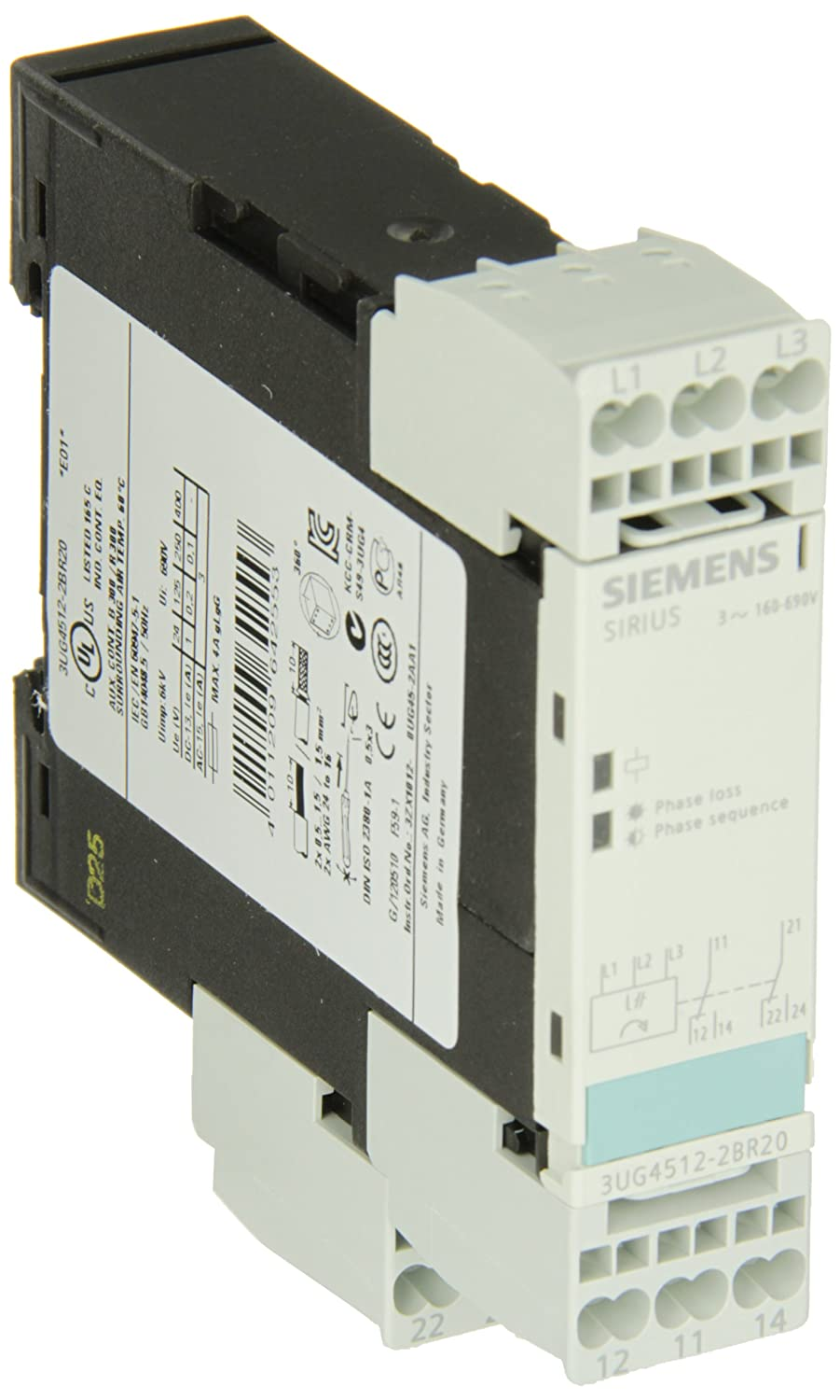 2 CO Contacts Cage Clamp Terminal Siemens 3UG4512-2BR20 Monitoring Relay 160-690 Line Supply Voltage 3UG45122BR20 Delay Time Insulation Monitoring Three Phase Voltage 22.5mm Width