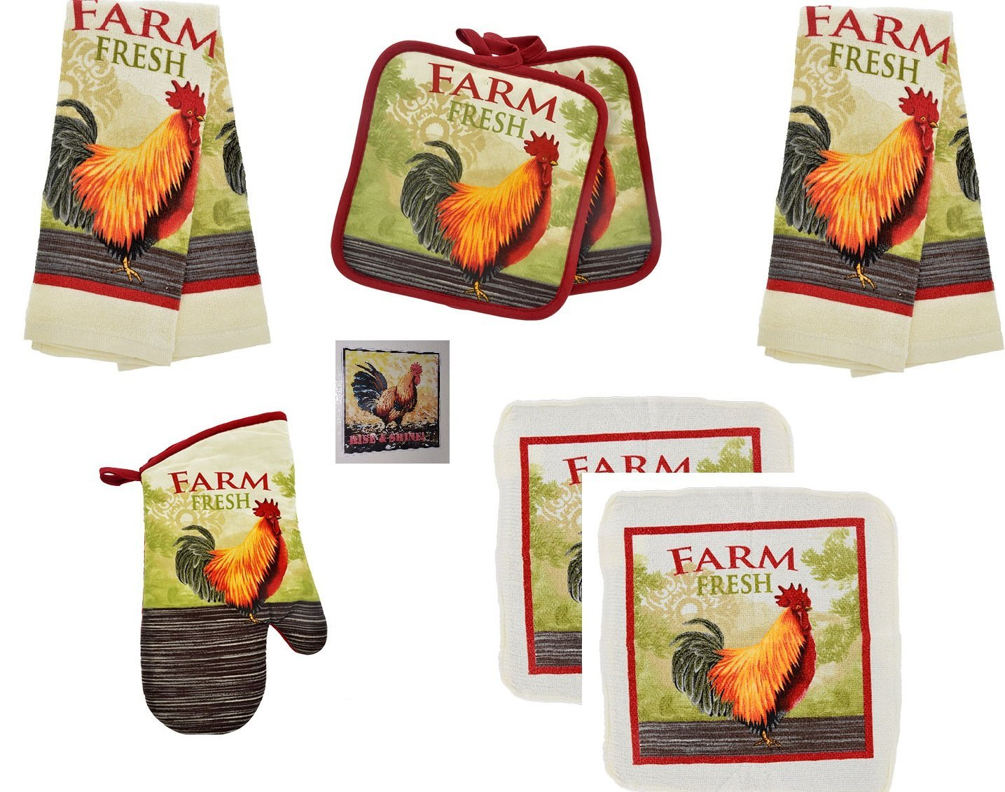 Home Collection Rooster Kitchen Towels Bundle - Towels, Oven Mitt, Dish Cloths, Pot Holders and a Matching Magnet