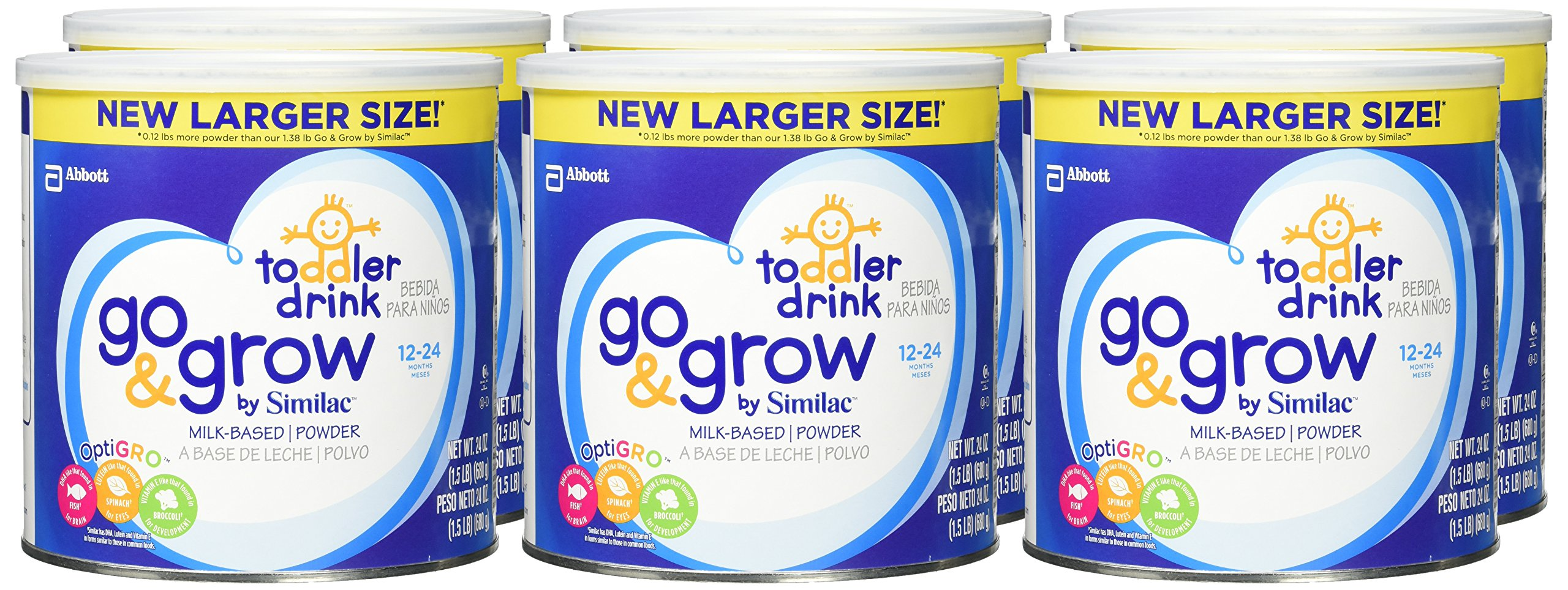 Go & Grow By Similac Milk Based Toddler Drink, Large Size Powder, 24 ounces (Pack of 6) by Similac (Image #2)