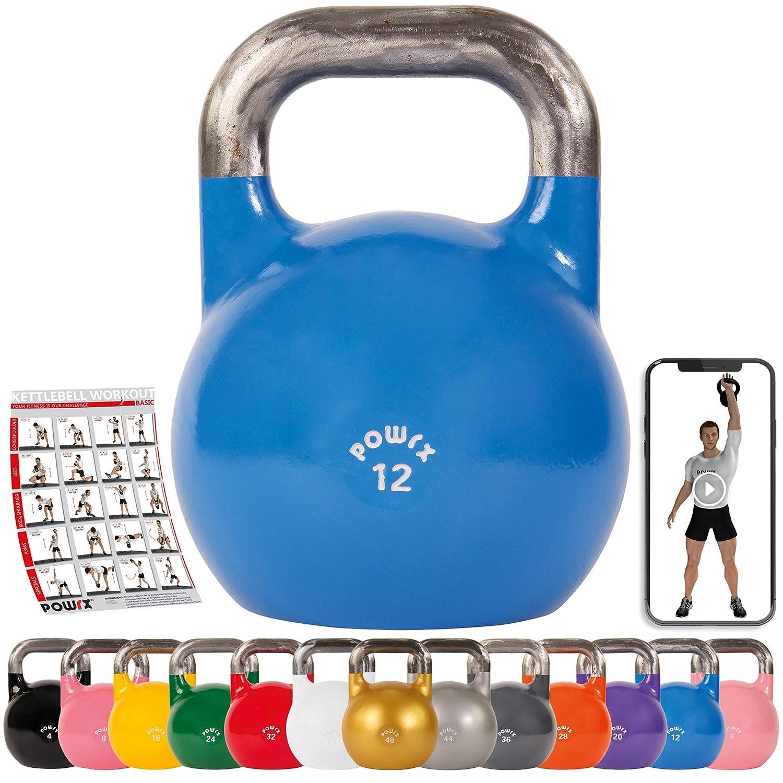 POWRX Kettlebell Pesa Rusa Competición 4-28 kg + PDF Workout (12 ...