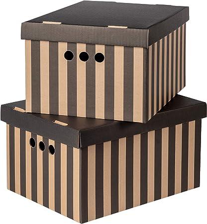 Juego de 2 cajas de almacenamiento decorativas con tapa para hogar, oficina, dormitorio, armario, varios usos, cartón, negro con rayas, Large: Amazon.es: Hogar