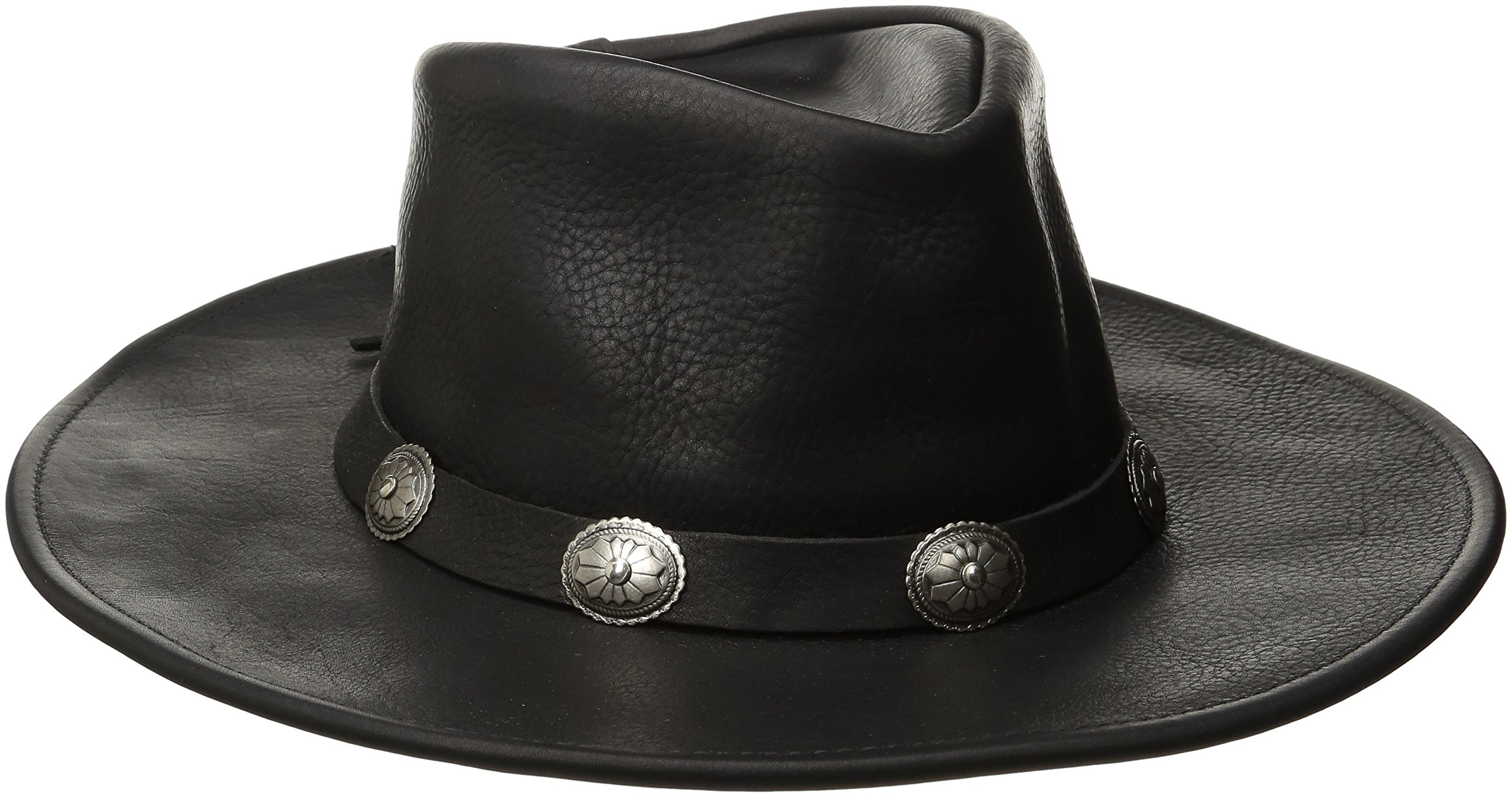 Henschel Walker, Full Grain Leather, Shapeable Brim, Conche Band, Black, Medium