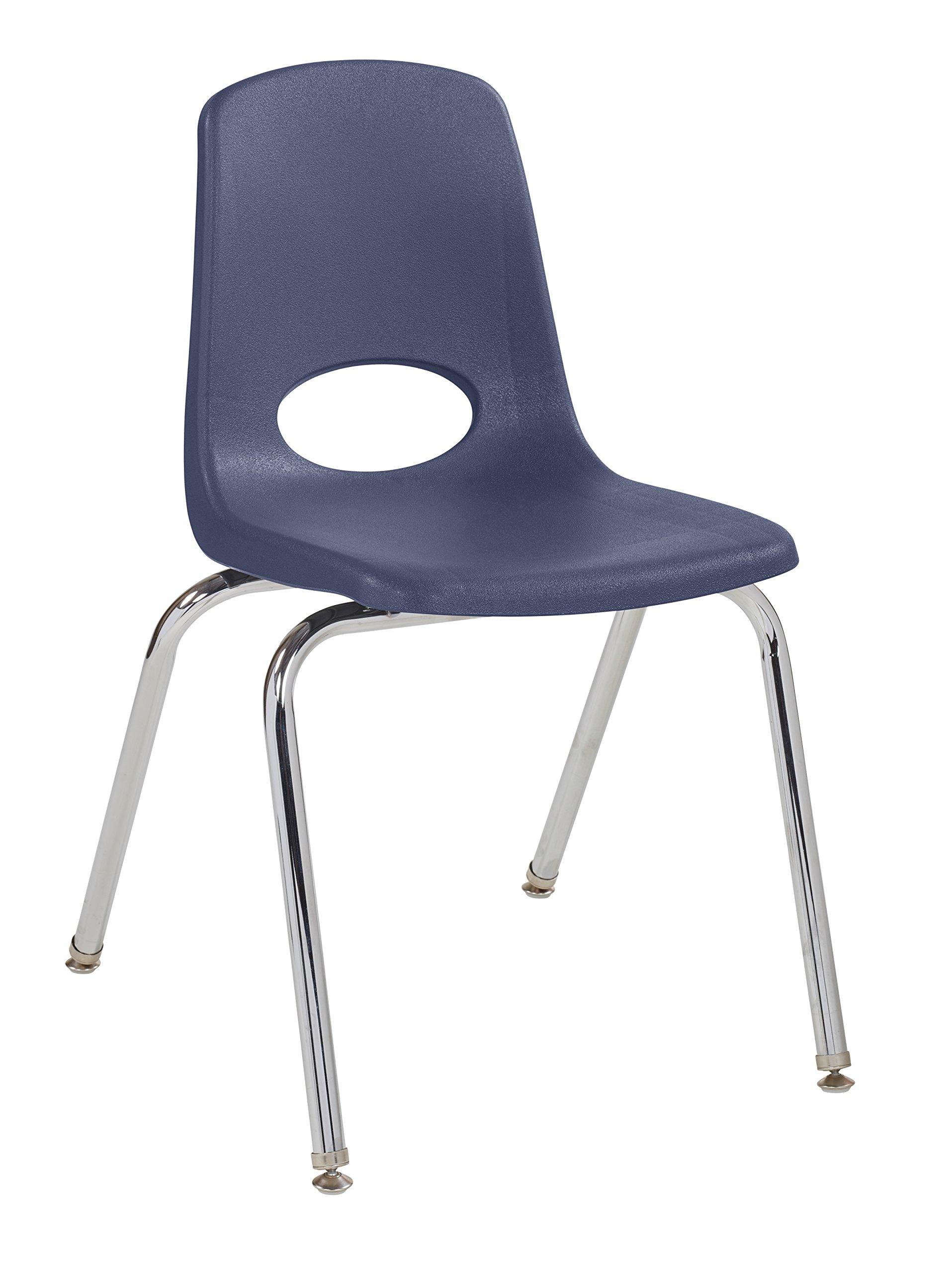 ECR4Kids 18'' School Stack Chair, Chrome Legs with Nylon Swivel Glides, Navy (5-Pack) by ECR4Kids (Image #1)