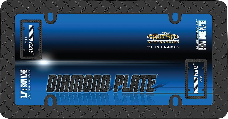 Matte Black Cruiser Accessories 30850 Diamond Plate License Plate Frame