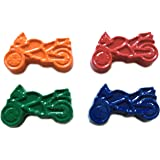 48 Motorcycle Crayons by MinifigFans™ - Birthday Party Favors - 12 Sets of 4 Crayons - Made in the USA from Crayola Crayons