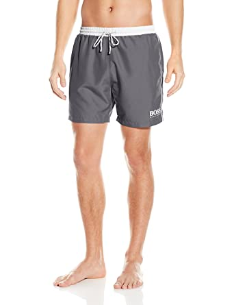 3ffaebe5f3 Hugo Boss BOSS Men's Starfish Swim Trunk, Charcoal/Off/White, Small