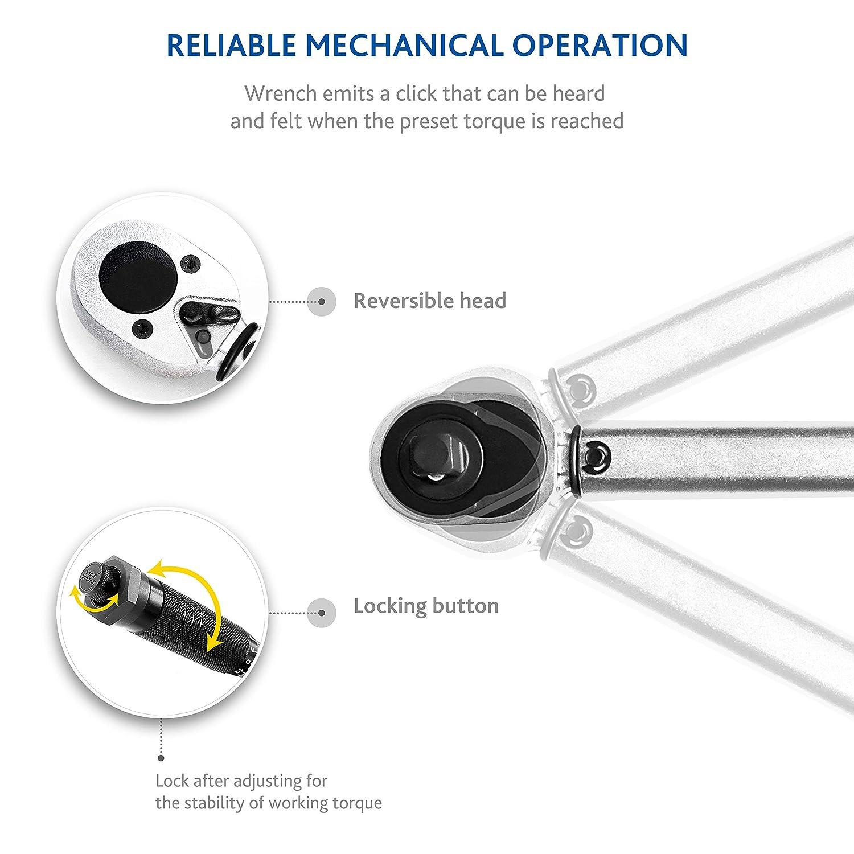 Cliquet carr/é Reversible Rallonge 1//2 12,5 cm motos 17, 19, 21 mm Pour autos 3 Douilles 28-210 Nm S/&R Cl/é Dynamom/étrique 1//2  46 cm v/élos