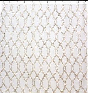 Maya Bath Collection Decorative Beige Sheer Fabric Shower Curtain Gold Metallic Embroidered Geometric Design
