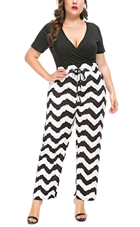 65c94ea3fb5 PlusSize Depot Women s Plus Size Deep V Neck Drawstring Waisted Long Pant  Jumpsuit Set 1PC 1XL