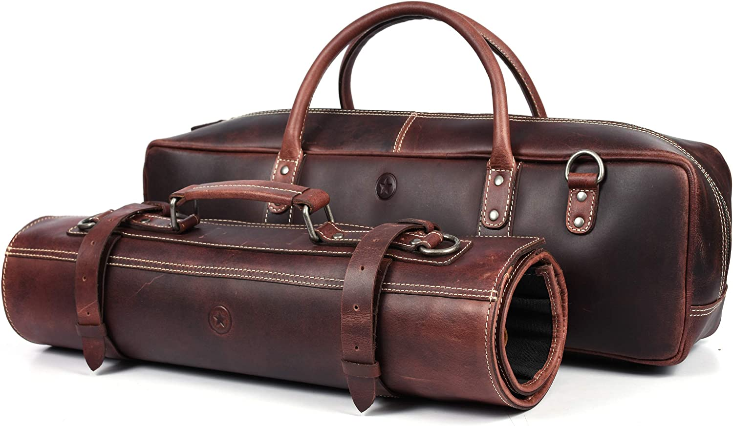Leather Knife Roll Storage Bag, Elastic and Expandable 10 Pockets, Adjustable/Detachable Shoulder Strap, Travel-Friendly Chef Knife Case (Walnut (with bag), Leather)