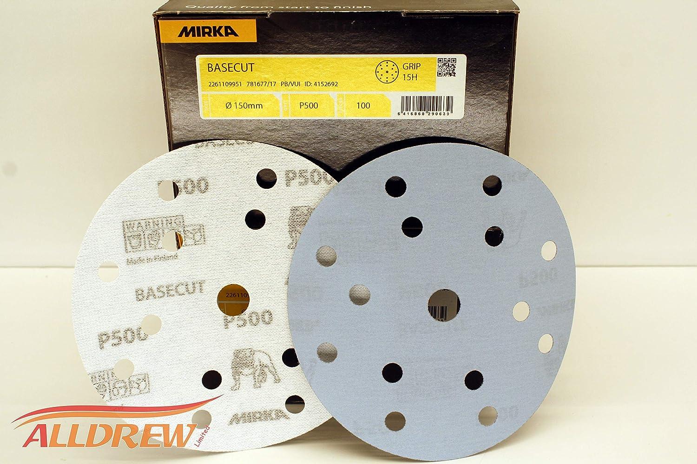 180 GRIT 150mm Mirka BaseCut Sanding Discs 6 Sandpaper Hook /& Loop 15 Hole Blue Automotive Pads //// 50 Discs