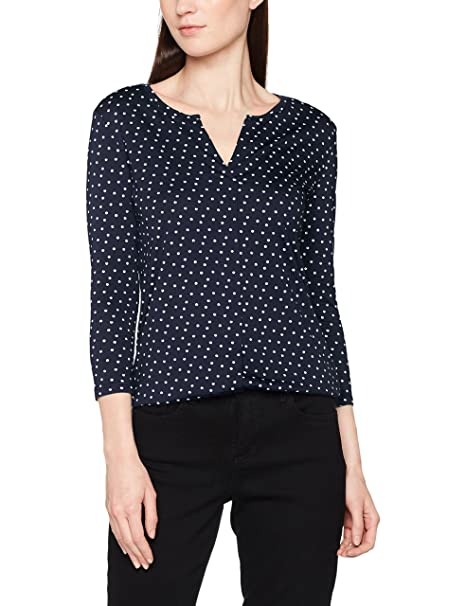 Tom Tailor Lovely Print Blousetop, Blusa para Mujer, Azul (Real Navy Blue 6593), 46 (Talla del Fabricante: 44)