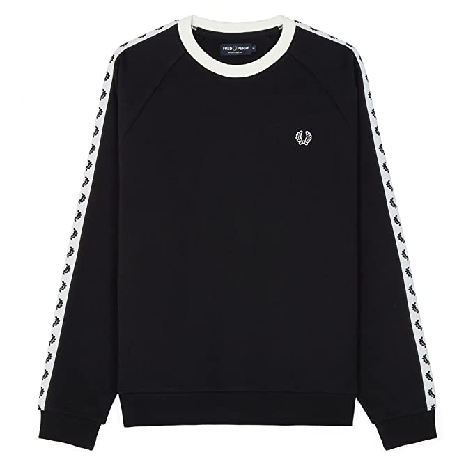 Fred Perry Taped Crew Neck Sweatshirt, Sudadera: Amazon.es: Ropa y accesorios