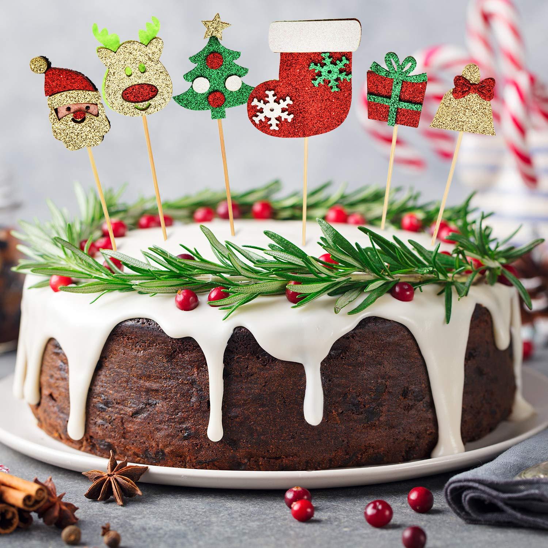 Blulu 36 Piezas Selecci/ón Toppers de Magdalena de Navidad Toppers de Pastel de Purpurina con Dise/ño de /Árbol de Navidad Alce Pap/á Noel Medias para Decoraci/ón de Tarta de Navidad
