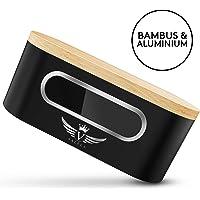 VALELA Brotkasten - Brotbox zur Lagerung von Gebäck & Kuchen Hochwertige Brotdose für die Küche Metall Brotbehälter + Schneidebrett, Brotkasten schwarz Retro