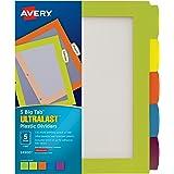 Avery Ultralast Big Tab Plastic Dividers, 5 Tabs, 1 Set, Multicolor (24900)