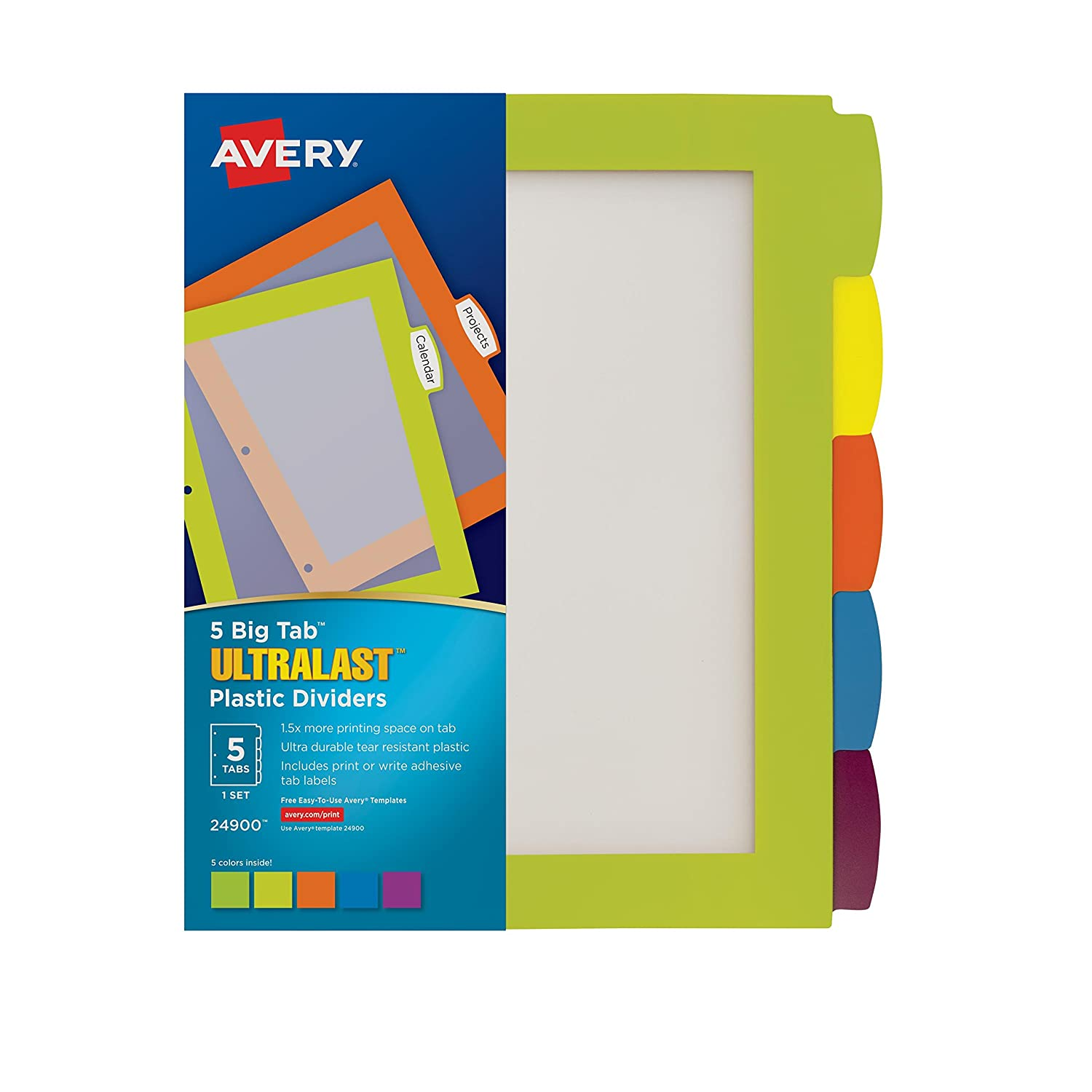 1 Set Avery Ultralast Big Tab Plastic Dividers 24900 Multicolor 5 Tabs