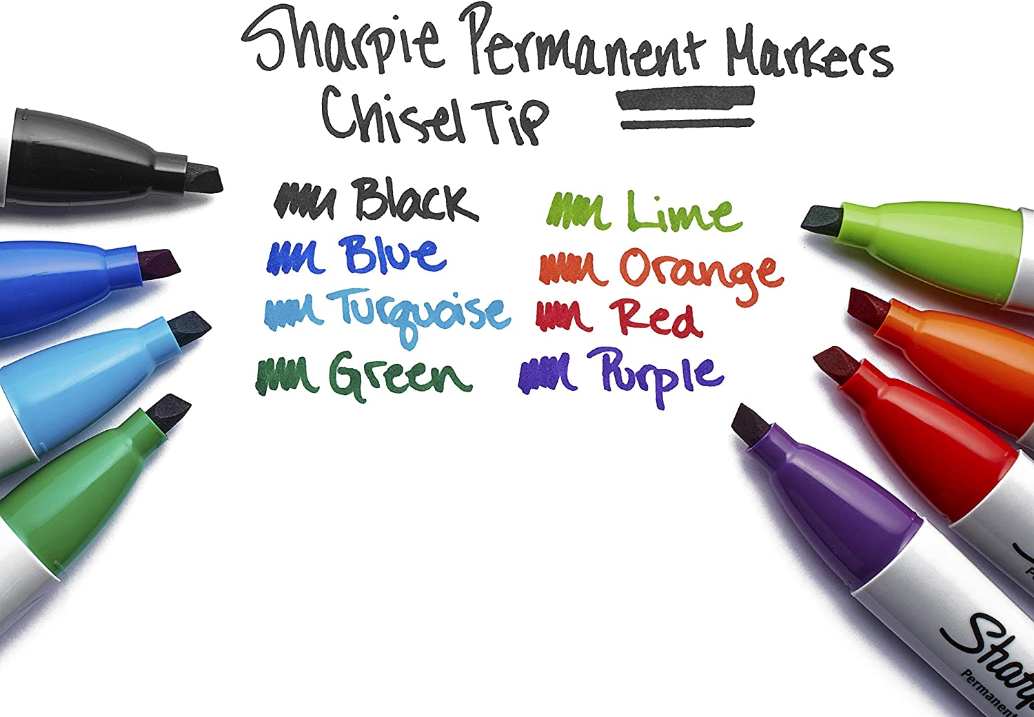 Green Red Black Blue Chisel Tip Sharpie Permanent Markers