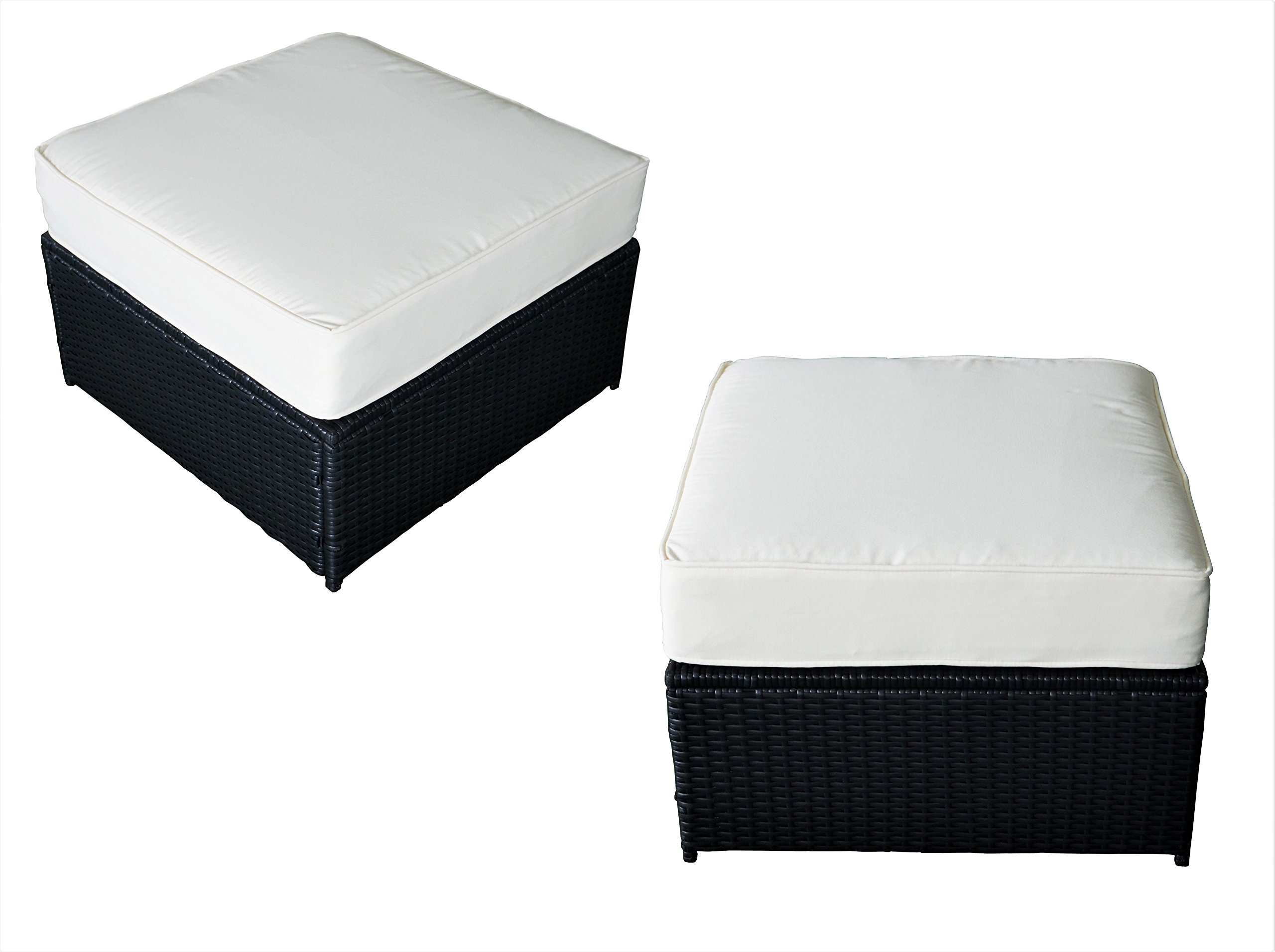 MCombo Outdoor Patio Wicker Rattan Square Ottoman Seat Sofa Chair with Cushion Set of 2 Black 6085