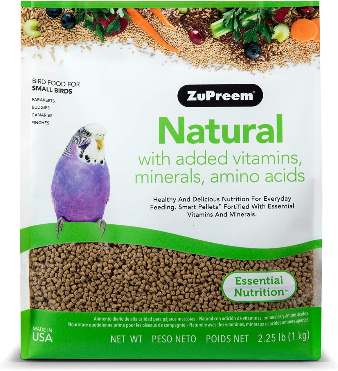 ZuPreem Natural con añadido Vitaminas, Minerales, aminoácidos pequeño pájaro Alimentos, 2,25LB (1 kg)