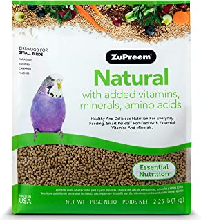 product image for ZuPreem Natural Bird Food Smart Pellets for Small Birds - Made in USA, Essential Vitamins, Minerals, Amino Acids for Parakeets, Budgies, Parrotlets
