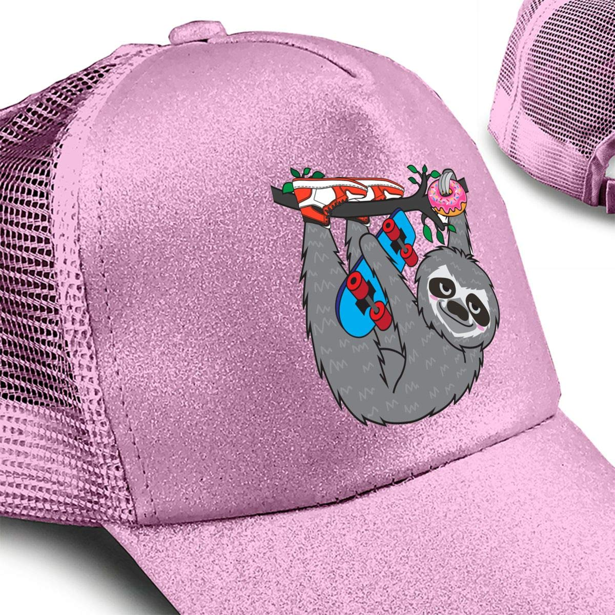 Skater Sloth and The Donuts Ponytail Messy High Bun Hat Ponycaps Baseball Cap Adjustable Trucker Cap Mesh Cap