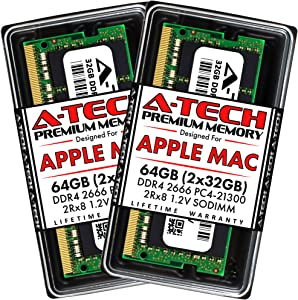A-Tech 64GB (2x32GB) RAM for Apple 2019 iMac 27 inch Retina 5K, 2018 Mac Mini | DDR4 2666MHz PC4-21300 SO-DIMM 260-Pin CL19 1.2V Non-ECC Unbuffered Memory Upgrade Kit