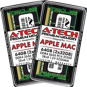 A-Tech 64GB (2x32GB) RAM for Apple 2019 iMac 27 inch Retina 5K, 2018 Mac Mini | DDR4 2666MHz PC4-21300 SO-DIMM 260-Pin CL19 1.2V Non-ECC Unbuffered Memory Upgrade Kit
