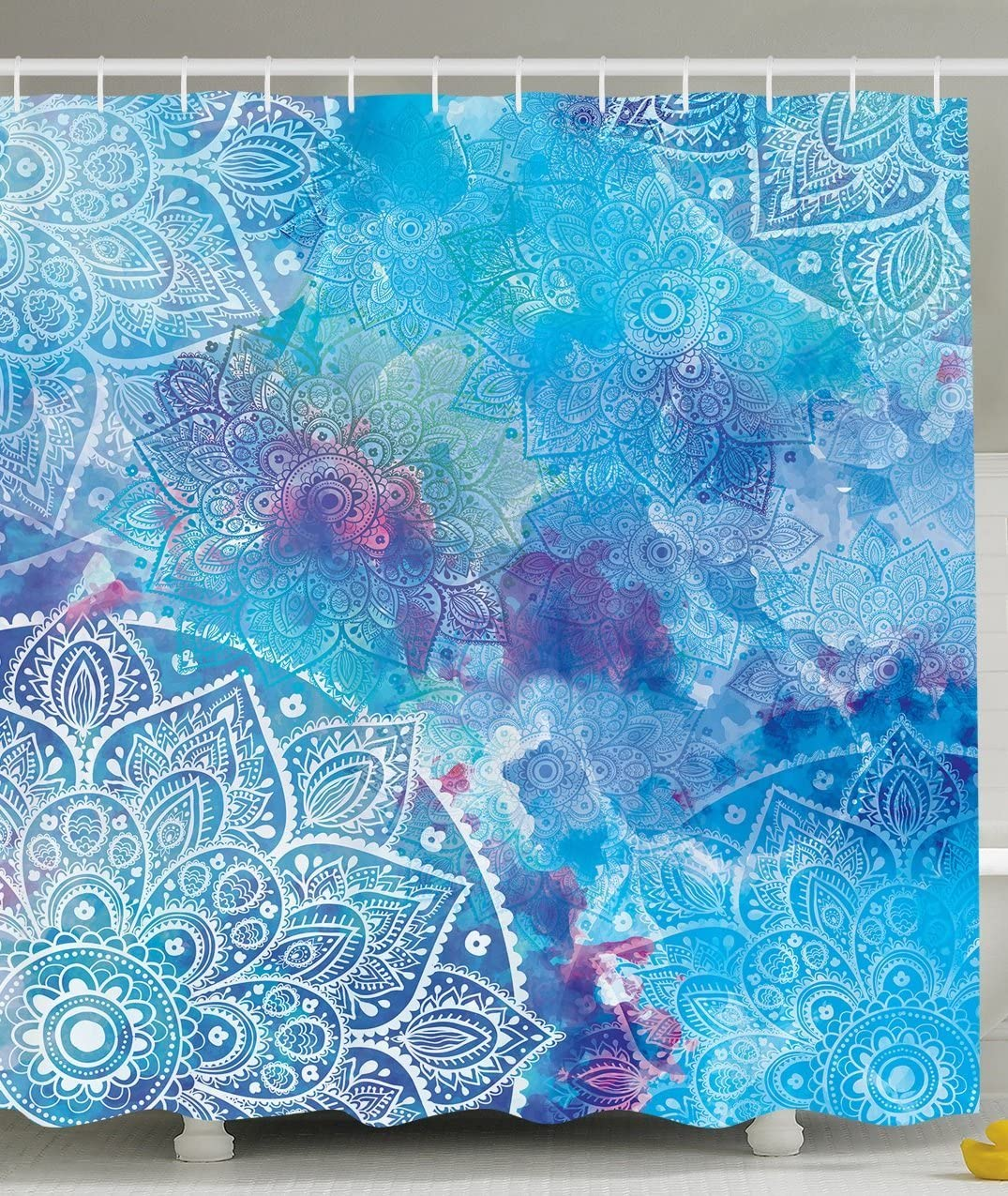 Batik Decor Shower Curtain by Ambesonne, Artistic Paisley Floral White Lace Mandala Watercolor Painting Artwork Print, Polyester Fabric Bathroom Set with Hooks, 69 X 70 Inches, Ombre Blue Purple Aqua