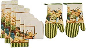 DII Printed Kitchen Set Includes 1 Potholder, 2 Oven Mitts, 3 Dishtowels and 2 Dishcloths, Wheelbarrow 8 Piece