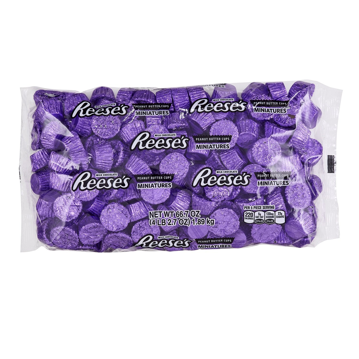 REESE'S Peanut Butter Cups Miniatures, Chocolate Candy, Purple Foils, 66.7 Ounce Bulk Candy by Reese's