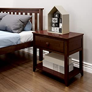 Max & Lily Solid Wood Nightstand, Espresso
